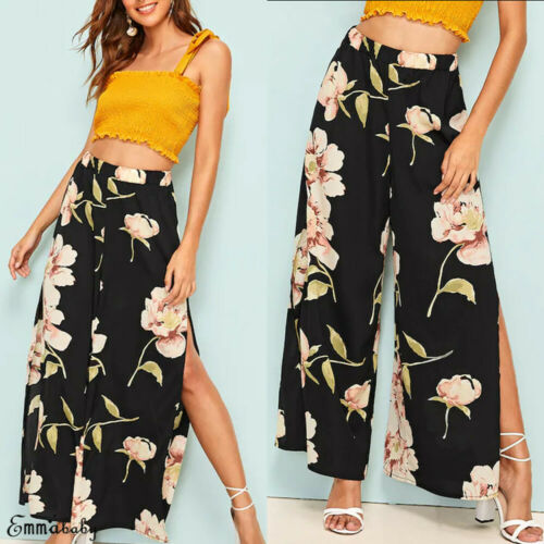 New Womens Chiffon Floral Skirt   Pants   Palazzo Chiffon High Waist Harem   Wide     Leg   High Split Trousers