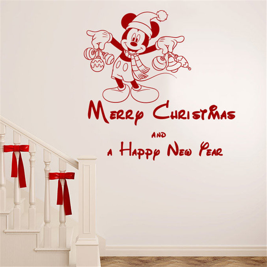 Merry Christmas Wall Decals Vinyl Sticker Decal Mickey ...