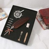 1 set of English retro calligraphy feather pen set gift pen natural feather high grade metal pen pen