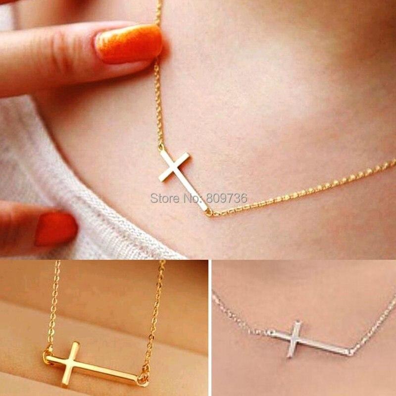 6 unids collares moda para mujeres 2015 Rose Gold Hot Horizontal Sideways cruz collar collar ajustable