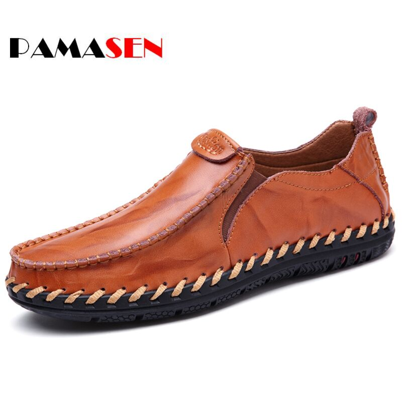 PAMASEN Newest Men Genuine Leather Casual Shoes Men loafers Spring And Autumn moccasins Shoes Mens Soft Comfortable Flats Shoes new style comfortable casual shoes men genuine leather shoes non slip flats handmade oxfords soft loafers luxury brand moccasins