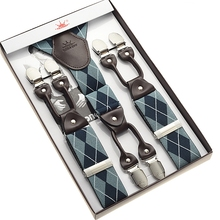 blue checks men's jacquard weave suspender 6 clips