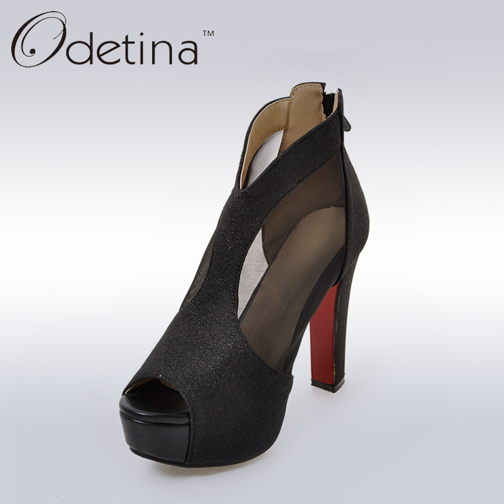 цены  Odetina Sexy Black Peep Toe Women Platform Pumps Thick Super High Heels Shoes Back Zipper Air Mesh Plus Size Woman Summer Boots