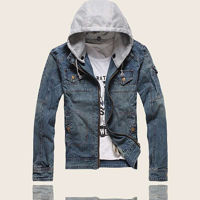 Free Shipping New Men&39s Thicken Jeans Jacket Coat Outerwear Hooded