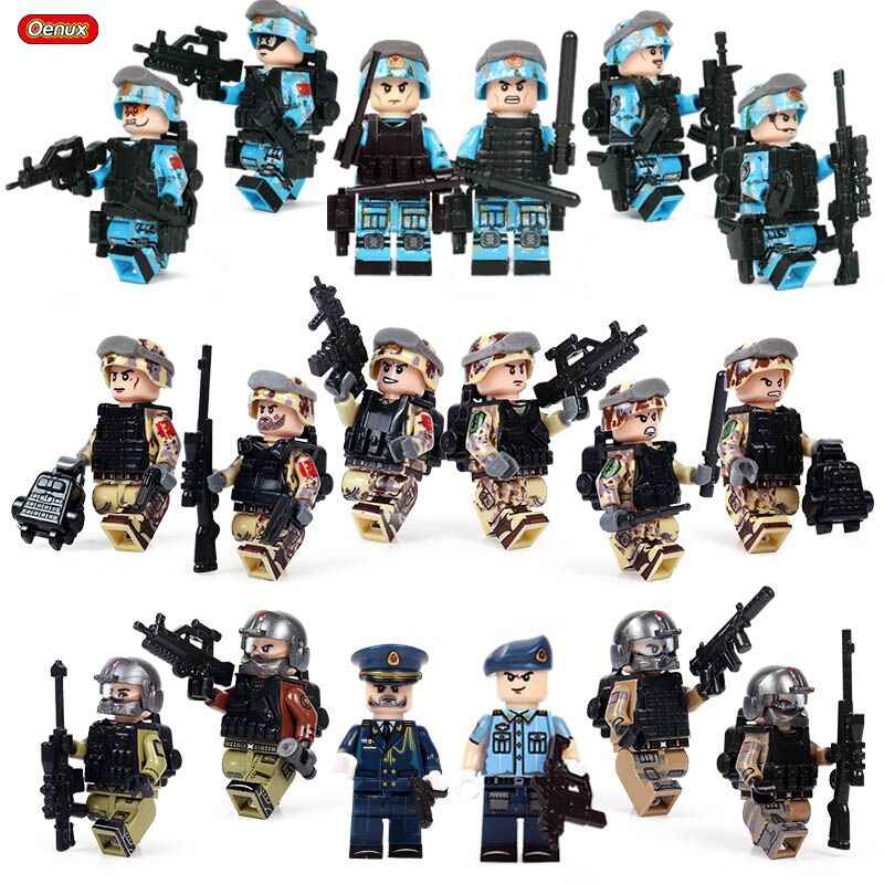 Oenux New Modern Military Building Block Military Camouflage Soldiers Figures With Weapons Brick Educational Toy For Boys Gift