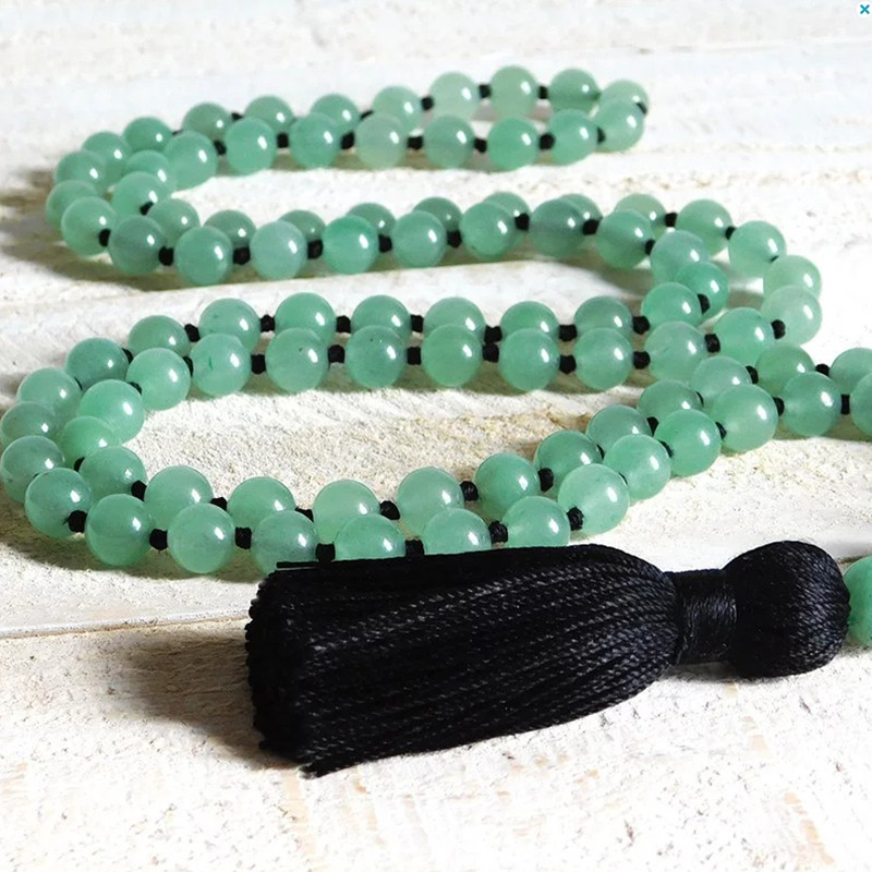 Natural Aventurine Hand Knotted Mala Necklace Boho Jewelry Healing Stone Pray beads 108 Necklace