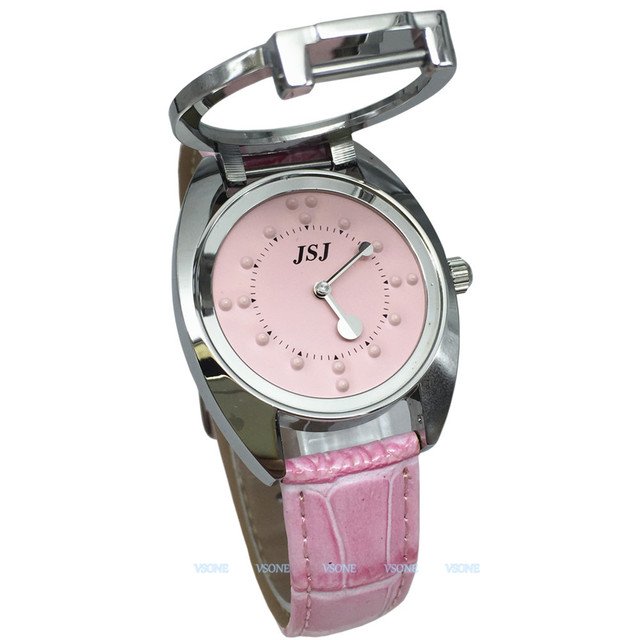 Tactile Watch for Blind People or Low Vision with Pink Leather Strap, Pink Dial