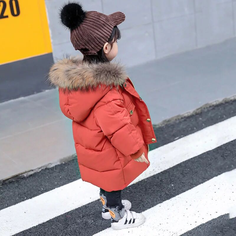 Children Winter Jacket Girl Raccoon Fur Collar Hooded Outerwear Coat Kids Long Thick Cotton-padded Parkas For Boys Girls 2-6 Y winter jacket women 2017 mid long thicken warm cotton padded down parkas coat faux fur collar hooded jacket for girl