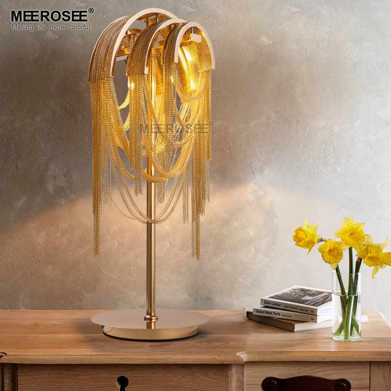 French Vintage Chain Retro Gold Color Table Light Fixture Chain Aluminum Desk Lamp Bedroom Living room Hotel Table Lustre