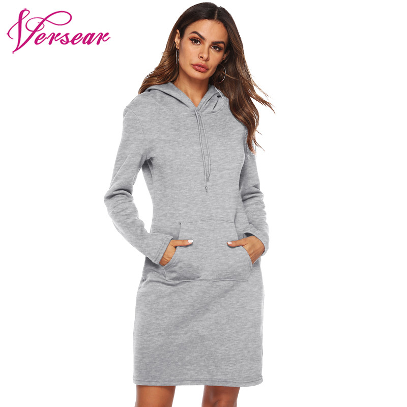 2019 New Autumn Women Long oodies Dress Hooded Long Sleeve Pocket  Sweatshirt Solid Wild Hoody sudadera mujer vestido