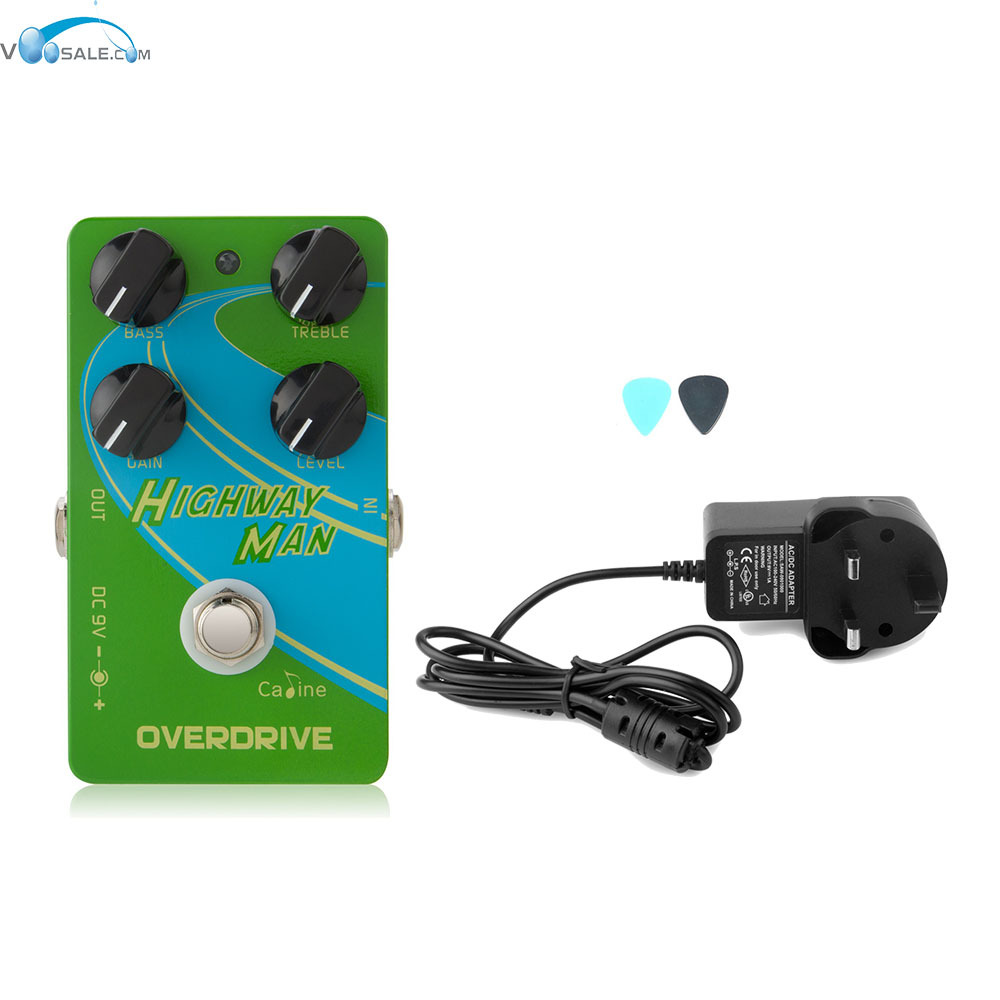 Caline CP-25 Overdrive OD Guitar Effect Pedal with True Bypass Pedals+AC100V-240V to DC9V/1A Adapter Use Have AU UK US EU Plug overdrive guitar effect pedal true bypass with 1590b green case electric guitar stompbox pedals od1 kits
