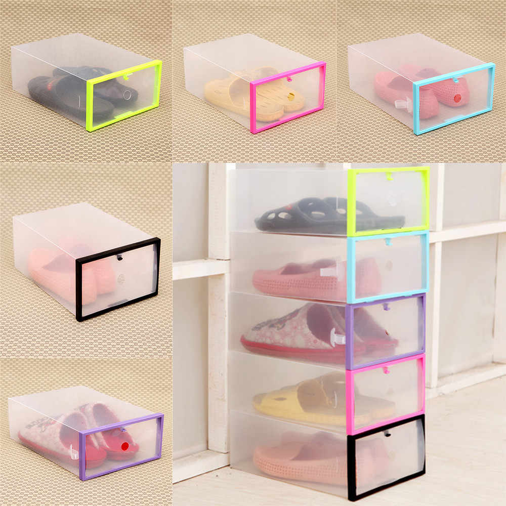 hot sale shoe box Foldable Stackable Clear Plastic Drawer Case Organizer Box Holder Shoe Storage drop ship