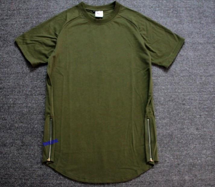 Tyga Army Green T Shirt Tee Hip Hop Extended Tartan Plaid Shirts Oversized Gold Zipper Men Top Hba Casual A Ap Pyrex In From S