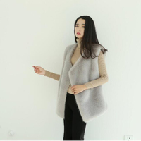 Fur Vest Limited Coat Winter Female Imitation Mink Vest 2018 Fashion New Medium Long Pure Color Outerwear Thickening Warm Ll679