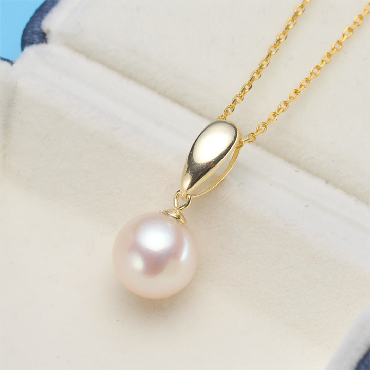 Elegant Fashion 925 sterling silver pendant necklace fashion natural freshwater Round pearl jewelry for women white