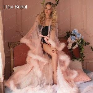 Image 2 - Марабу халат с румянами и розовыми перьями, Свадебный халат из тюля, иллюзия, свадебный подарок, одежда для церемонии, вечерний Халат