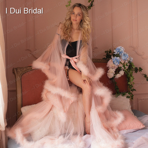 Image 2 - Marabou Robe Blush Pink Feather Bridal Robe Tulle Illusion Wedding Gift Ceremony Party Wear Dressing Gown