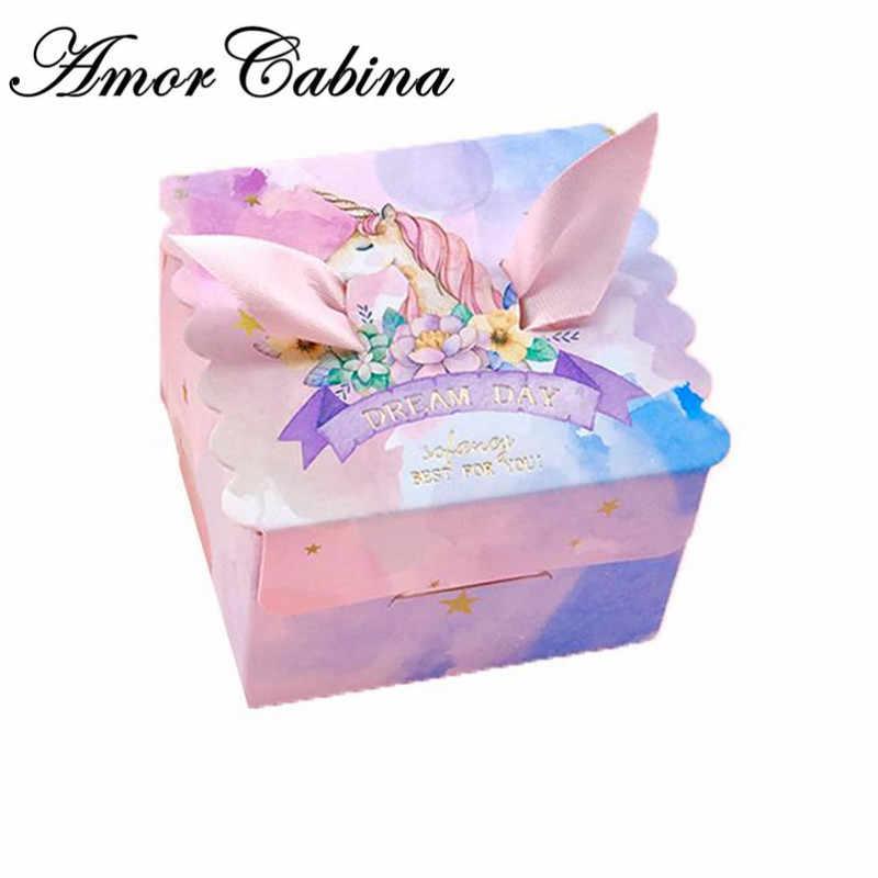 ユニコーン紙ギフトバッグ正方形の大理石のユニコーンパーティーベビーシャワーの誕生日キャンディボックス誕生日パーティー用品 10 ピース