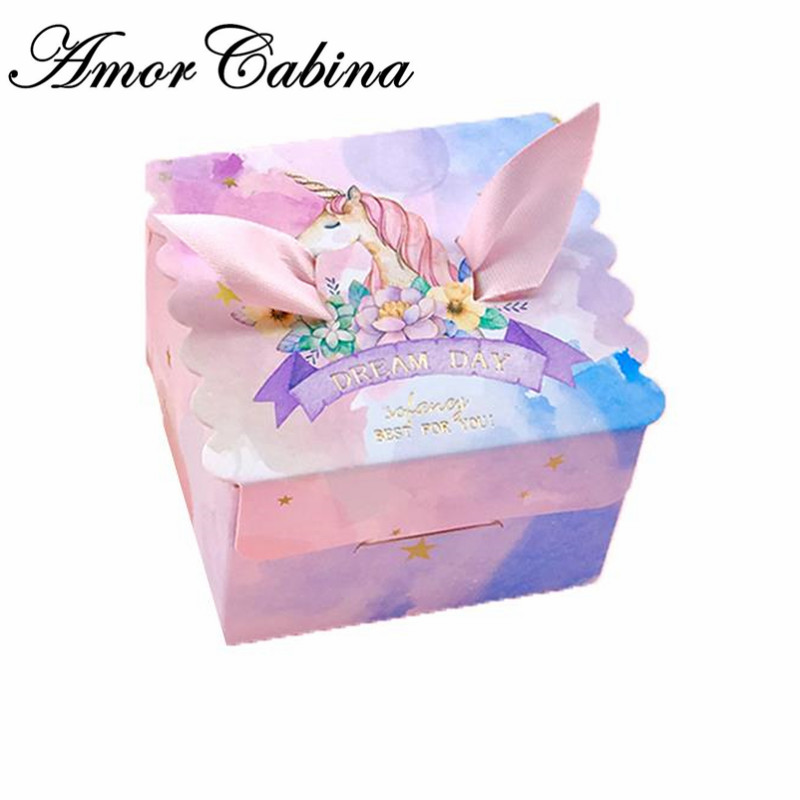 Unicorn Paper Gift Bags Square Marble Candy Box For Unicorn Party Baby Shower Birthday Candy Box Birthday Party Supplies 10pcs