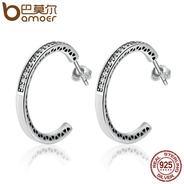 Bamoer 925 Sterling Silver Radiant Hearts White Enamel Clear Cz Hoop Earrings For Women
