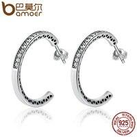 BAMOER 925 Sterling Silver Radiant Hearts White Enamel Clear CZ Hoop Earrings For Women Sterling Silver