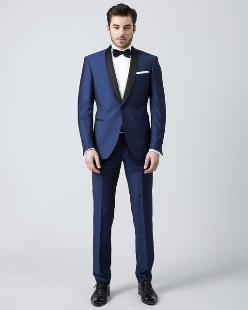 Custom Made men suits blue Wedding Suits For Men black shawl lapel tuxedos for men one button groom Wedding Suits For Men