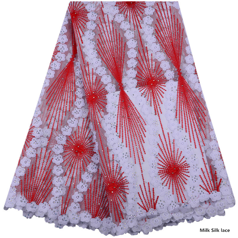 High Quality Nigerian Lace Fabrics Latest Stones Mesh African Lace Fabric Milk Silk Lace Wedding French