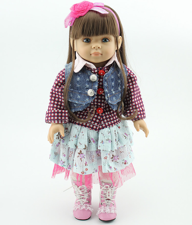 45CM AMERICAN GIRL Brown Long Hair Reborn Handmadere Newborn Sleeping Baby Doll Girls Christmas Gift Educational Toys [mmmaww] christmas costume clothes for 18 45cm american girl doll santa sets with hat for alexander doll baby girl gift toy