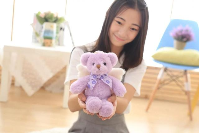 new arrival cartoon purple teddy bear plush toy angle wigns bear soft doll baby toy birthday gift w2909
