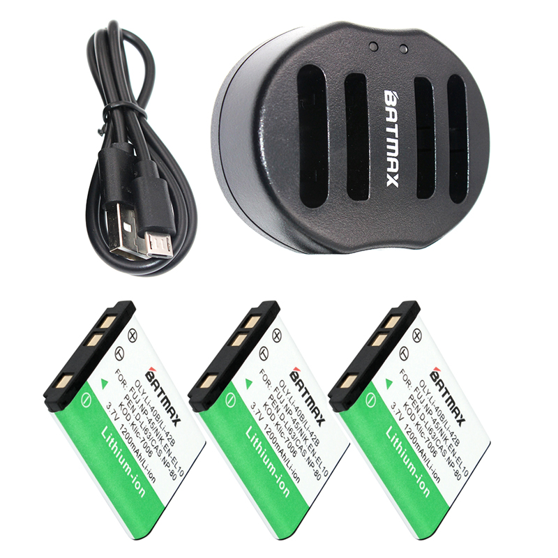 лучшая цена 3-Pack Li-40B Li 40B 42B Battery + Dual charger for Olympus Li-42B NP-45 ,for Nikon EN-EL10 D-Li63 D-Li108 NP-80 CNP80 KLIC-7006