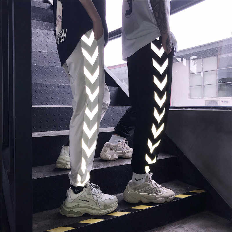 HOUZHOU Reflective Pants Women Harajuku Hip Hop Harem Lovers Pant Jogger Mujer Fashion Streetwear Sweatpants Loose Trousers Slim