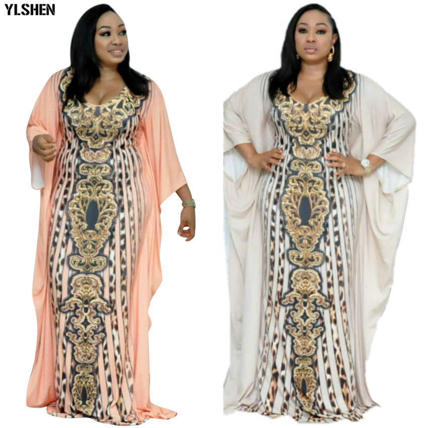 African Dresses For Women Dashiki Print African Clothes Bazin Riche Leopard Slim Africa Dress Robe Africaine Vetement Femme 2019