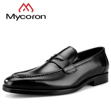 hot deal buy mycoron fashion brand summer breathable 100% genuine leather shoes men's square toe business casual shoes chaussure homme cuir