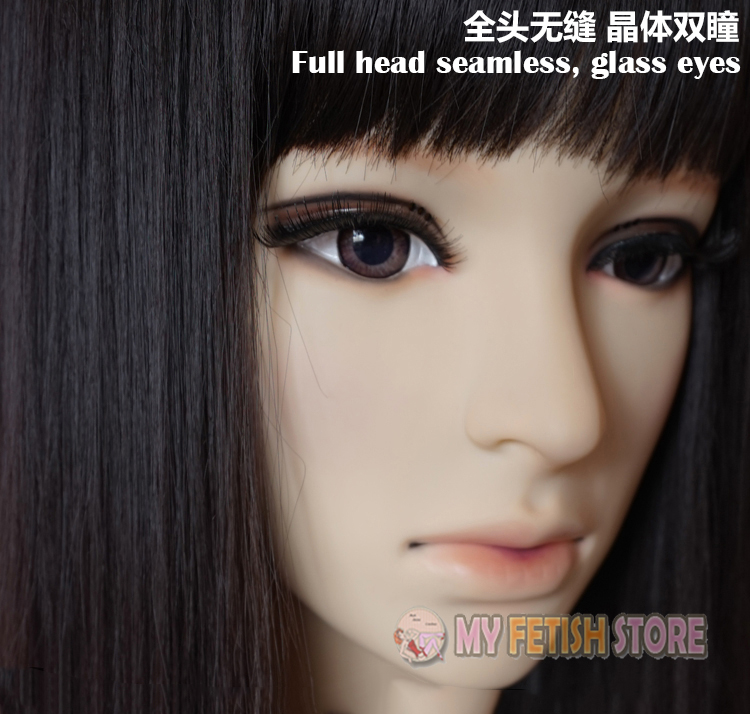 (Winter ) Quality Handmade Soft Silicone Realist Full Head Female/Girl Crossdress Sexy Doll Face Cosplay Mask With Wig