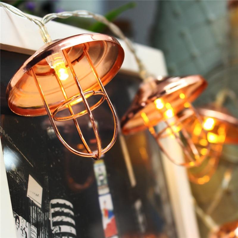 10 LED String Light Christmas Battery Operated Vintage Lamp Shade Lantern Outdoor LED Garden Fairy String