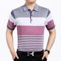 2016 Новый стиль отдыха мужская лето контрастного цвета полосы с коротким рукавом рубашки поло