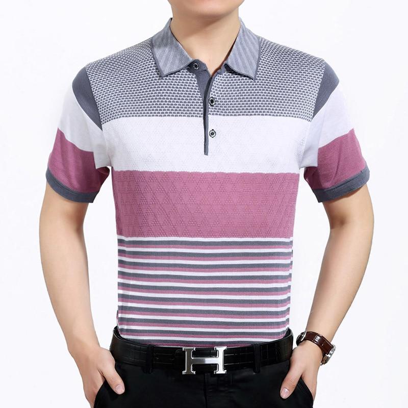 2016 Neue Freizeit Stil Männer Sommer Kontrast Farben Streifen Kurzarm Polo Shirt
