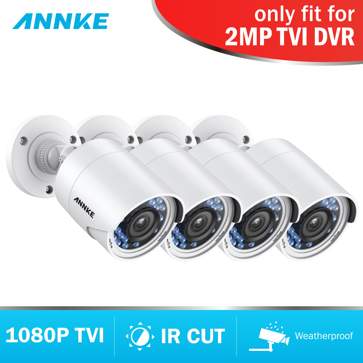 ANNKE 1080P HD TVI Bullet CCTV Camera 4pcs 2MP Weatherproof Housing And 66ft Super Night Vision
