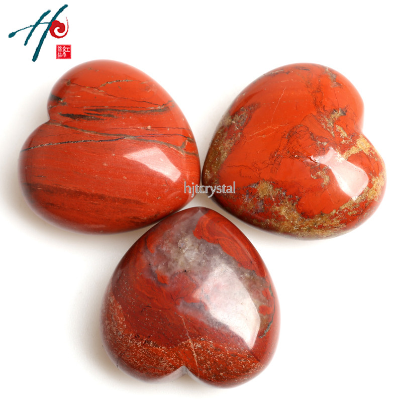 Wholesale 4cm Natural Crystal Craft Christmas Birthday Valentine's Gift Red Jasper Heart Home Decoration Accessories /3pcs