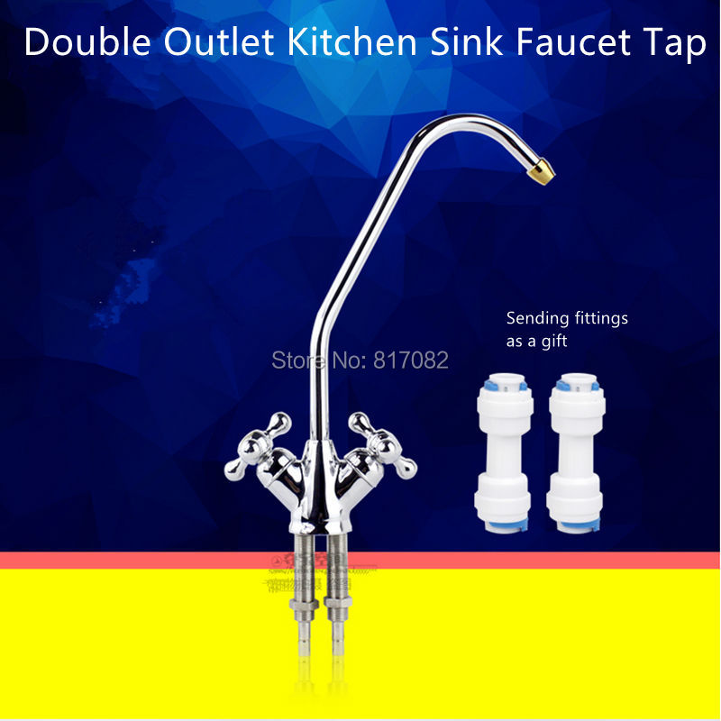 reverse osmosis double outlet kitchen sink faucet tap chrome plated finished ro water filter faucet durable - Kitchen Sink Tap Fittings