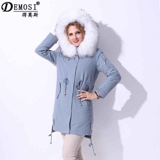Factory direct supply winter Rex Rabbit Fur Detachable Liner Cotton Jackets  Women s Clothing coats Real Raccoon Dog Fur Collar 2c4a36e52