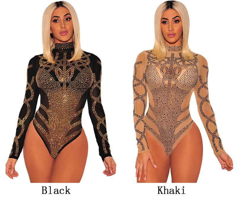 HTB15sDEXiHrK1Rjy0Flq6AsaFXag - SEBOWEL Woman Sexy Bodysuits Autumn Spring Black Gold Rhinestone Bustier Female Mesh Turtleneck Long Sleeve Sheer Bodysuit