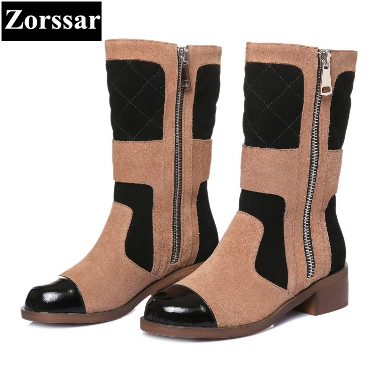 {Zorssar} 2017 NEW fashion vintage Casual flat heel Mid-Calf boots suede womens knight Boots autumn winter women shoes zorssar 2018 new fashion women boots genuine leather comfort thick heel zipper mid calf boots autumn winter women shoes