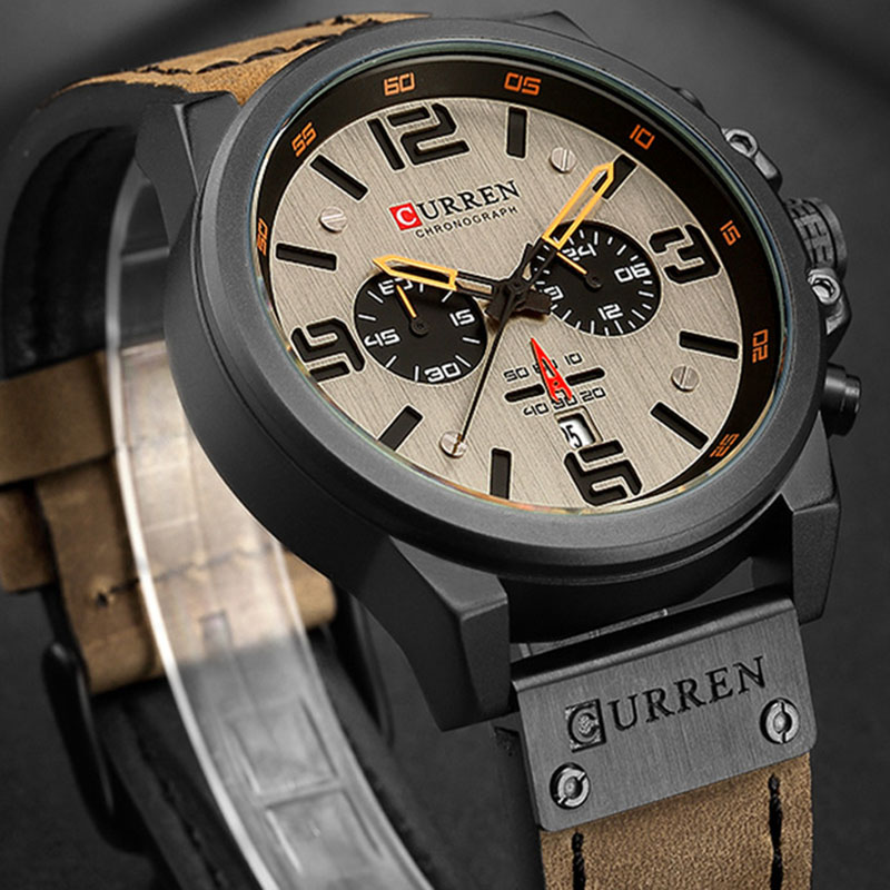Image 2 - CURREN Top Luxury Brand Men's Military Waterproof Leather Sport Quartz Watches Chronograph Date Fashion Casual Men's Clock 8314-in Quartz Watches from Watches
