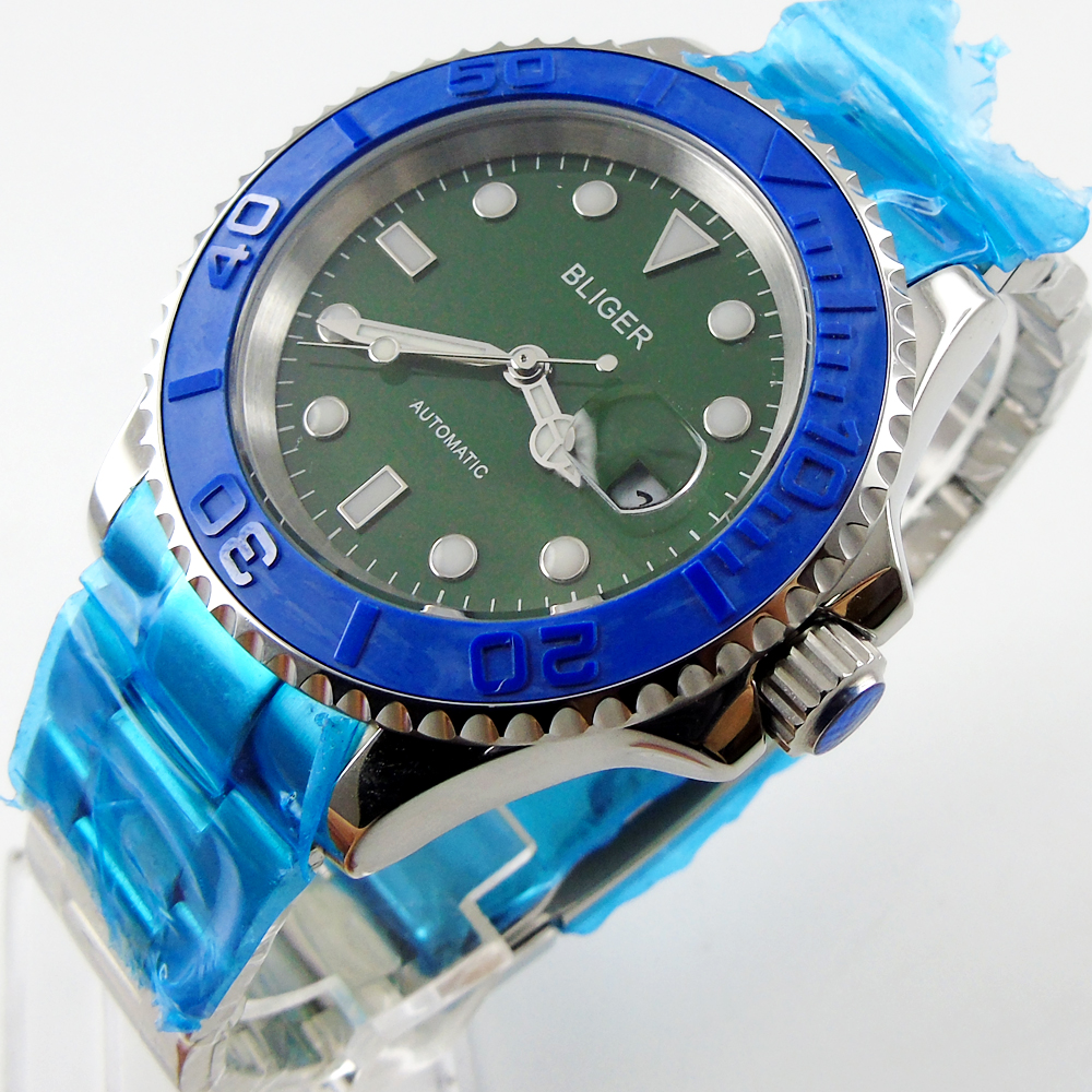 лучшая цена Bliger 40mm green dial date blue Ceramics Bezel luminous saphire glass Automatic movement Men's watch
