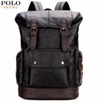 VICUNA POLO простой лоскутный большой емкости мужской s кожаный рюкзак для путешествий Повседневный mochila мужской рюкзак кожаный дорожный рюкзак