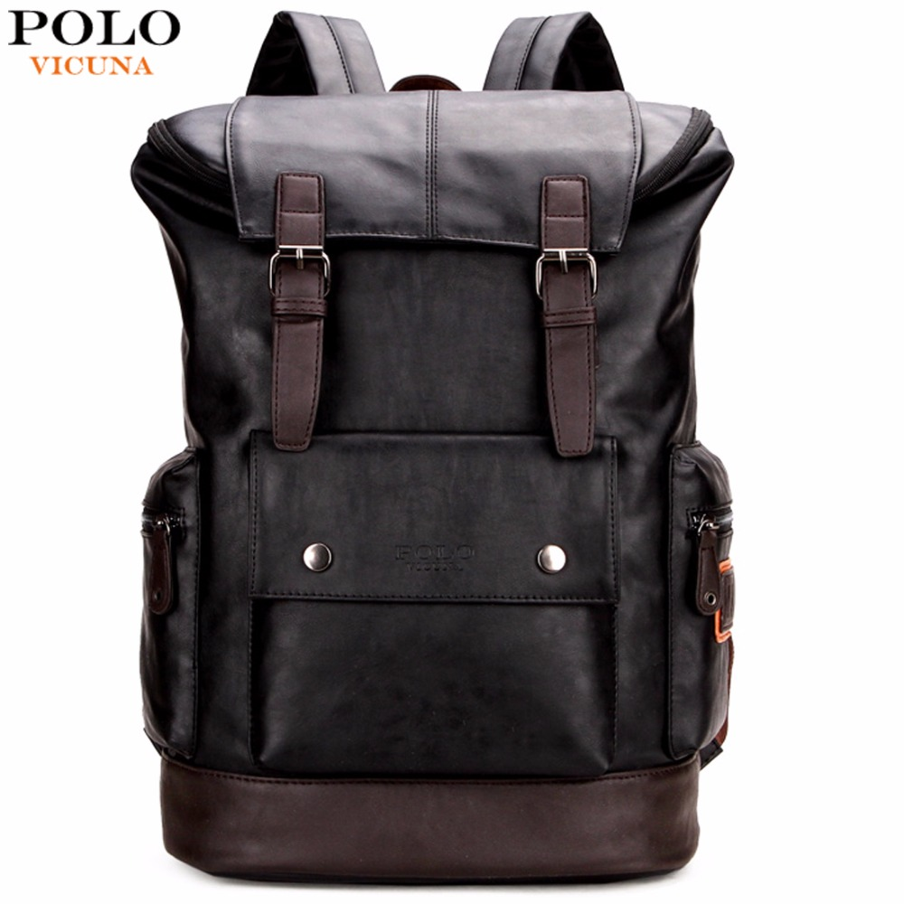 VICUNA POLO Simple Patchwork Stor kapasitet Herre Skinn Ryggsekk For Reise Uformelt Mochila Menn Dagsposer Leather Travle Ryggsekk