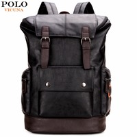 VICUNA POLO Simple Patchwork Large Capacity Mens Leather Backpack For Travel Casual mochila Men Daypacks Leather Travle Backpack