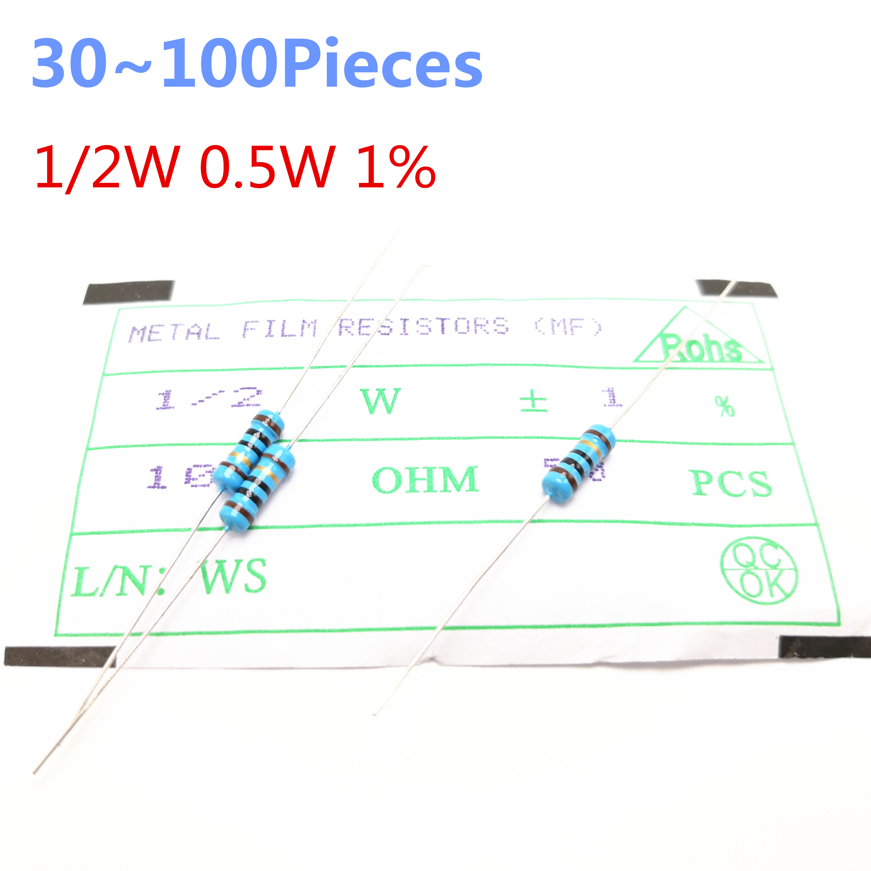 30 100pieces 1 2W 15 ohm 1 2W 1 Radial DIP Metal Film Axial Resistor 15ohm