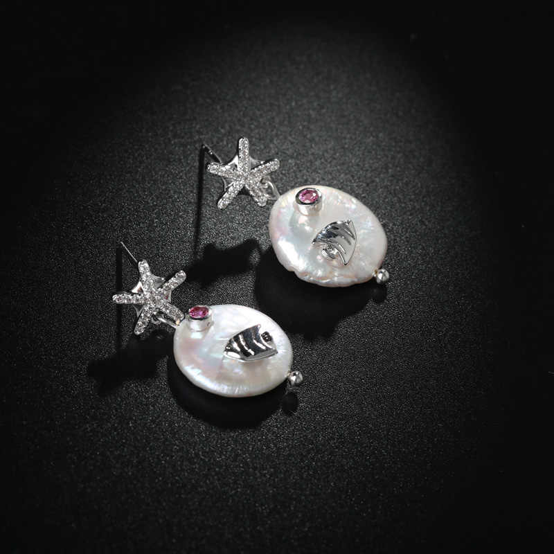 Blucome Cubic Zircon Star Fish Shape Women Earrings Silver Color Freshwater Pearl Copper Fish Animal Earring Pendientes Jewelry